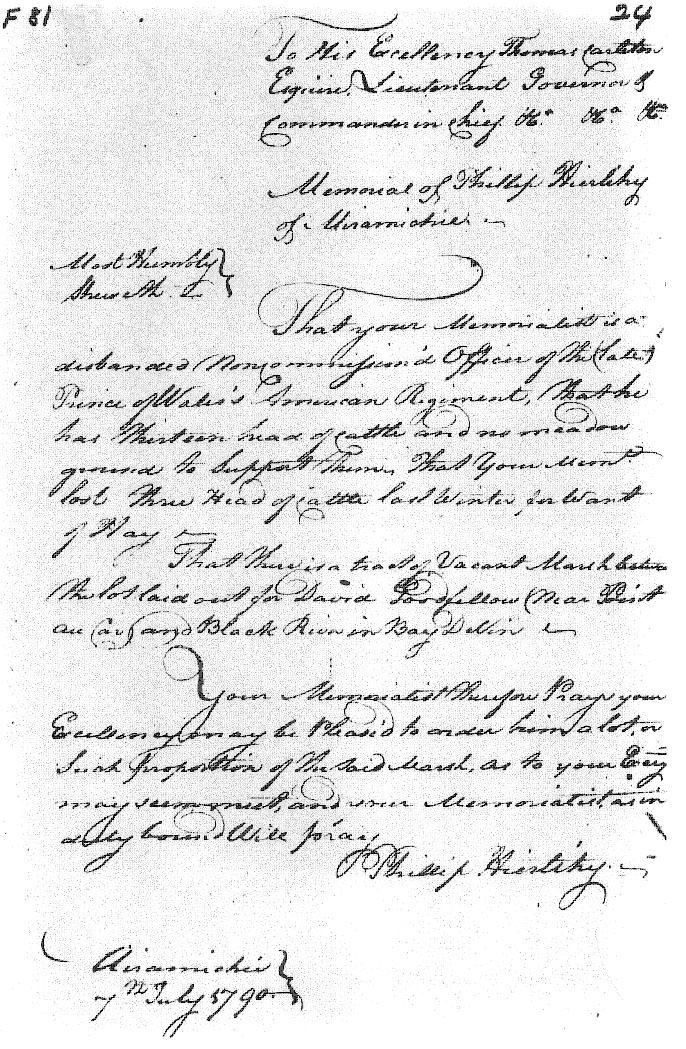 Transcription of Phillip Hierlihy's 1790 Memorial at Archival Records/Administrative Documents.