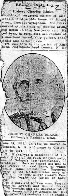 RC Blake Newspaper Obituary