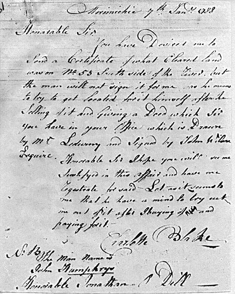 Transcription of Charlotte Blake's 1788 Letter at Archival Records/Administrative Documents.