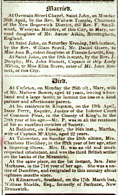 Obituary 1 From the Royal Gazette 5 May 1841