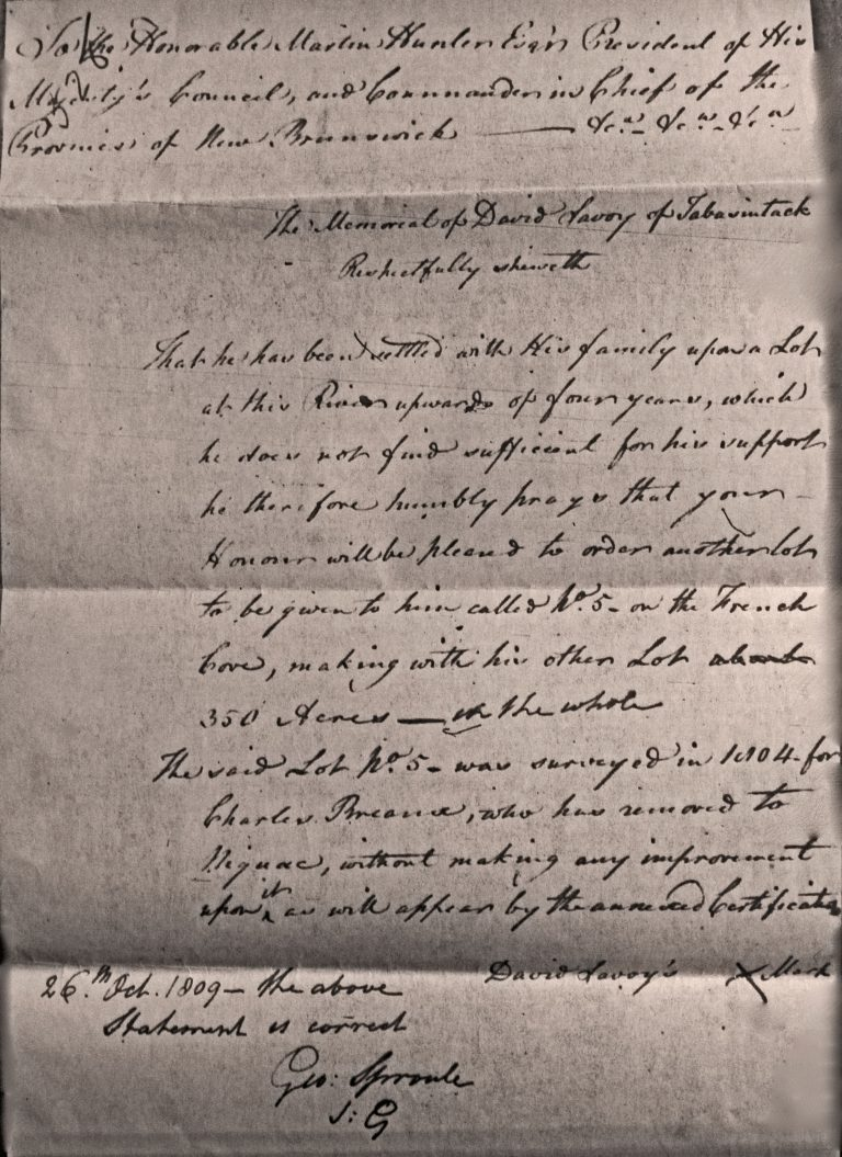 Transcription of New Brunswick Memorial of David Savoy Oct. 26, 1809 at Archival Records/Administrative Documents.