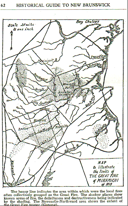Map 4.  The Great Miramichi Fire of 1825
