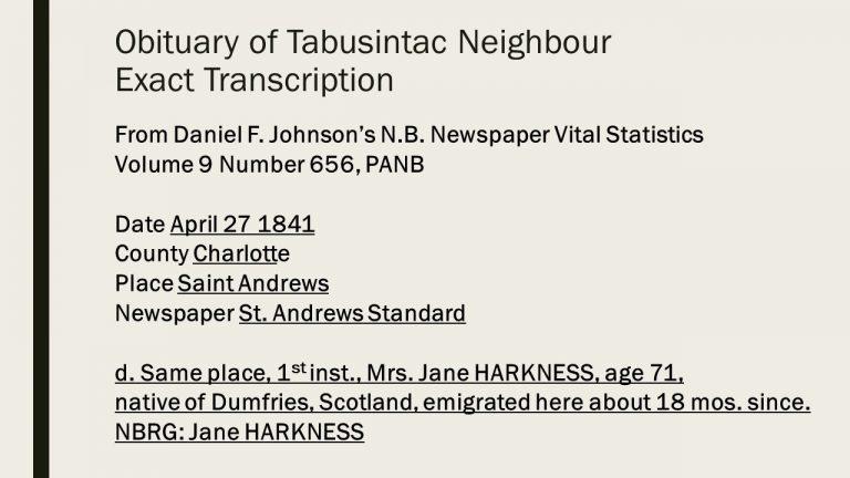 Jane Harkness Obituary. St. Andrews Standard