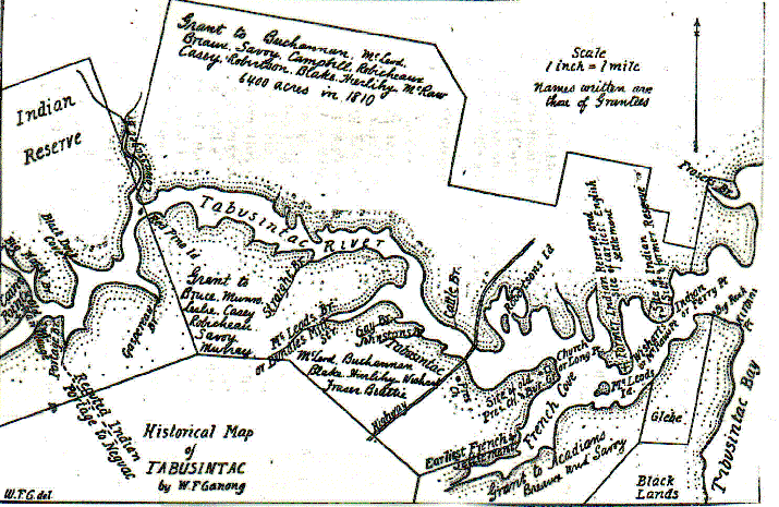 Map 5.  Historical Map of the Tabusintac River by W.F. Ganong