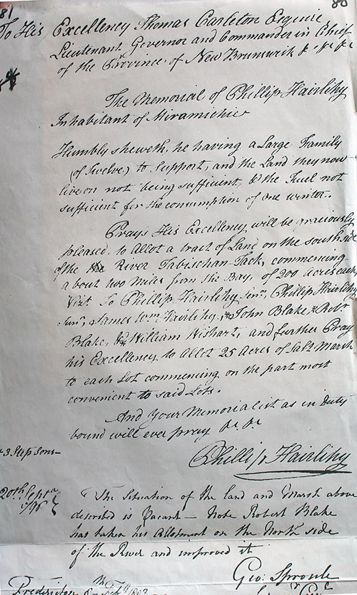 Transcription of Phillip Hairlihy 1798 Petition at Archival Records/Administrative Documents.
