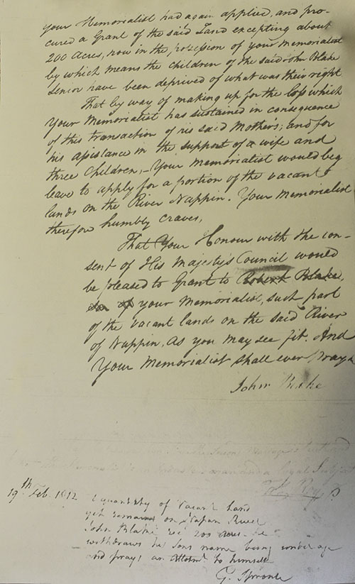 Transcription of John Blake 1812 Petition2 at Archival Records/Administrative Documents.