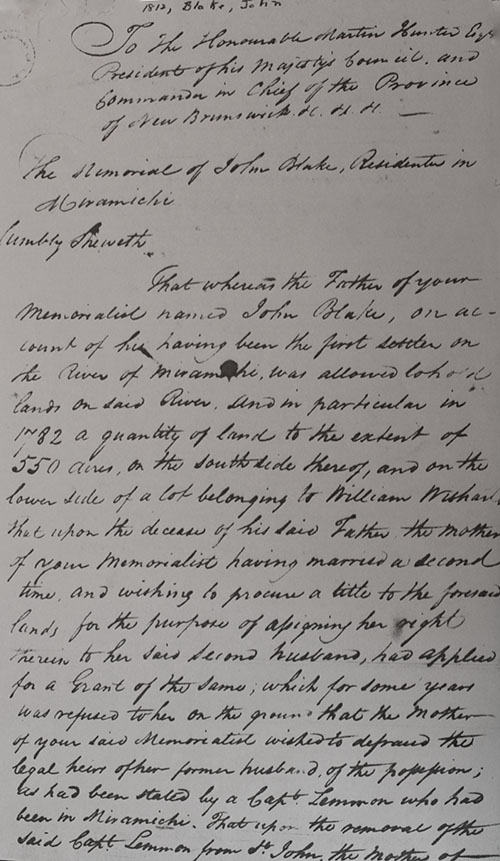 Transcription of John Blake 1812 Petition1 at Archival Records/Administrative Documents.