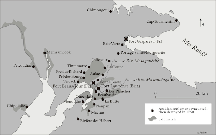 Map of the surroundings of Boeaubassin 1750