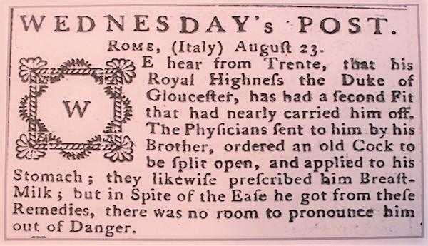 Wednesdays Post The Derby Mercury 1777